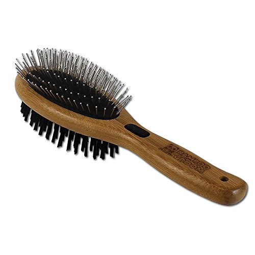 Bamboo Groom Combo Brush with Bristles & Stainless Steel Pins for Pets, Large