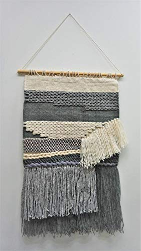 RugsBeyond - Ivory & Grey Merino Wool Handmade Boho Wall Hanging (34
