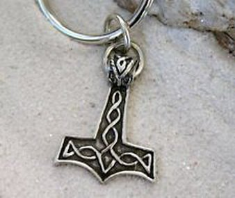 Pixel Jewelry 1985 - NORSE GOD THORS HAMMER MJOLNIR Pewter KEYCHAIN Key - Key Pugster