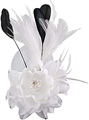 White Party Feather Hair Fascinator Hairclip Flower Corsage Brooch