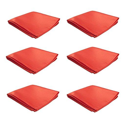 Mens Pocket Squares Handkerchief 6 PK Wedding Party Solid Color Handkerchiefs - Coral Square