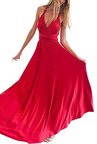 Jaycargogo Robe De Robe De L'infini Sangle Multiprises Femmes Envelopper Robe Maxi Décapotable Rouge