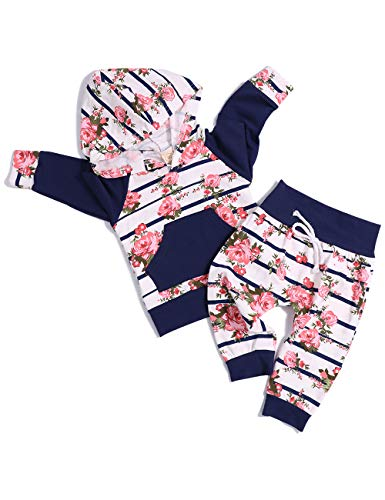 (Baby Girl Clothes Long Sleeve Breathable Hoodie Sweatshirt Top +Kangero Pocket +Floral Pant Outfits Set(18-24 Months))