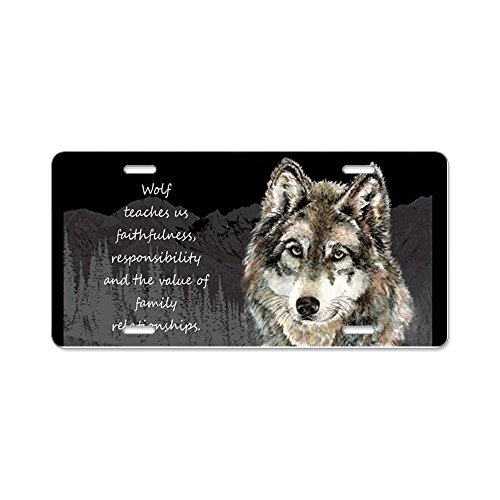 CafePress - Wolf Totem Animal Spirit Guide For Inspiration Alu - Aluminum License Plate, Front License Plate, Vanity (Front Guide Plate)