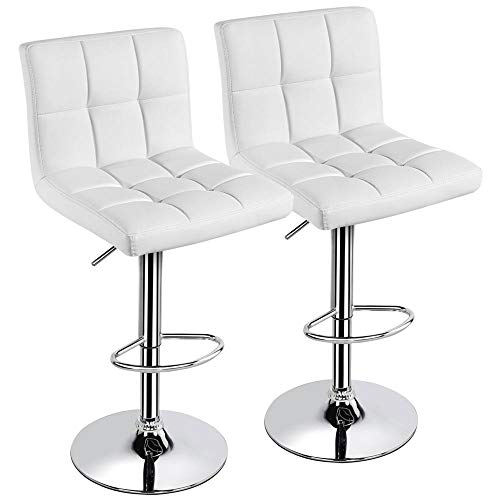 Yaheetech X-Large Bar Stools - Square PU Leather Adjustable Counter Height Swivel Stool Armless Chairs Set of 2 with Bigger Base than Others',White