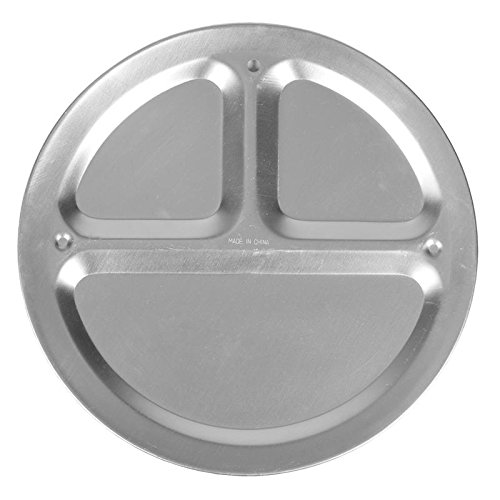 ALUMINUM MESS PLATE - 3 COMPARTMENT, Case of 12