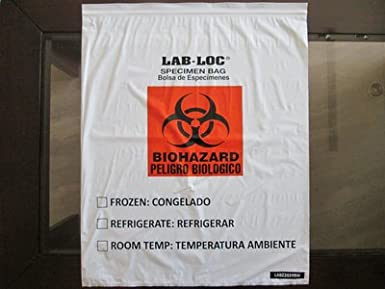 Action Health A1201502BH Specimen Bag Biohazard Red Pack of 1000 304.8 mm Width 3 Wall Flap 406.4 mm Length