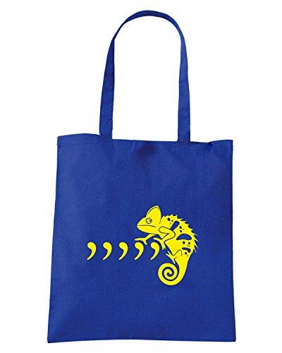 T-Shirtshock - Bolsa para la compra FUN1032 commachameleon fullpic artwork 1 (2) Azul Real