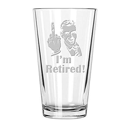 d1f952990ae1 Retirement Gift Celebration Glass, Drinking Glass for Men, Funny Beer  Glasses for Retired Adult
