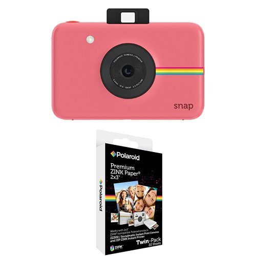 Polaroid Snap Instant Digital Camera (Pink) with Polaroid 2x3 inch Premium ZINK Photo Paper TWIN PACK (20 Sheets)