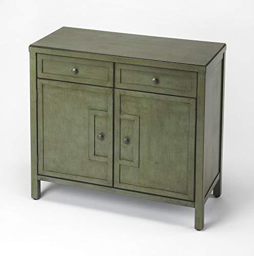 WOYBR Butler Loft Green Rectangular Bayur Wood Solids, MDF Butler Imperial Green Console Cabinet