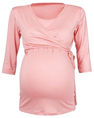 Happy Mama Para Mujer Camiseta premamá y de lactancia. 458p Albaricoque
