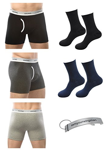KRONIS Mens Underwear Combo 3Pk Boxer Brief Premium 180GSM Cotton + 2 Pair Socks (Underwear And Socks)