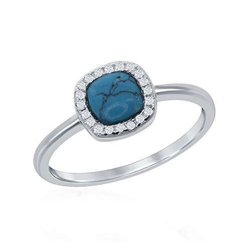 Sterling Silver Cushion-Cut Turquoise & CZ Ring (Size 8) (Cushion Cut Turquoise Ring)