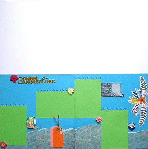 Summertime Swimming Vacation Dimensional Scrapbook (2) Premade Pages