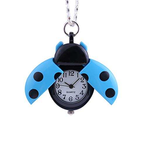 ( Orcbee  _Creative Small Seven-Star Ladybug Pocket Watch Gift for Kids (Blue))