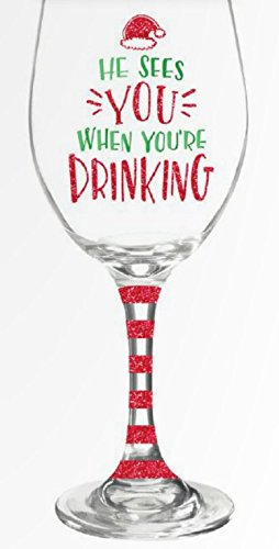 Christmas-Wine-Glass-with-Funny-Saying-He-Sees-You-When-Youre-Drinking-135-oz-Wine-Glass-with-A-Fun-Red-Glitter-Stem