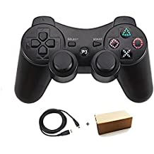Molgegk Wireless Bluetooth Controller For PS3 Double Shock - Bundled with USB charge cord (Black)