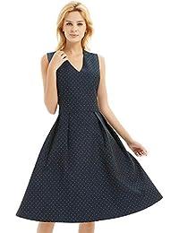 c109d3140a4 Women s Audrey Hepburn Vintage Dress Sleeveless Tea Dress Casual Party  Cocktail Swing Dress A Line Midi