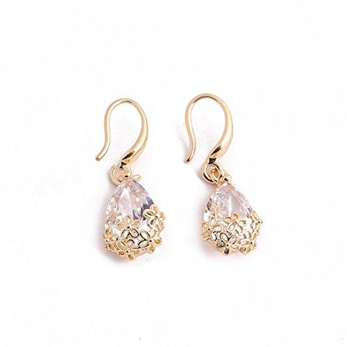 Celendi_Jewelry Earring Drop Shaped Zircon Pendant Ear Studs Delicate Flowers Pierced Ear Hooks (Gold)
