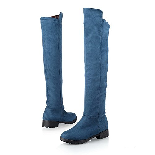 Solid Short B Boots Platform Round Plush Low US Toe Frosted 5 AmoonyFashion Womens Close 5 Blue M with PU Heels 1qxOvTw