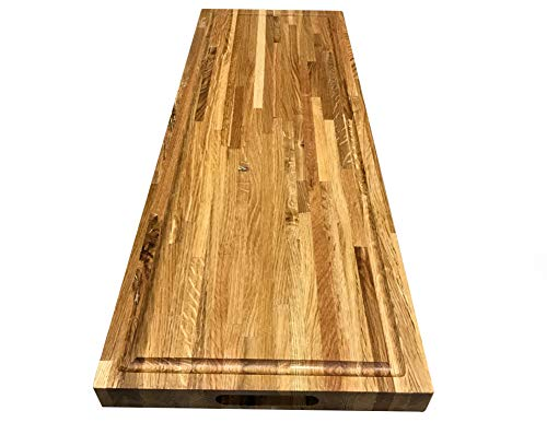"Cutting Board Oak Butcher Block - Oak Wood Edge Grain Cutting Board with Juice Moat - 24"" x 36"" x 1-1/2"" Thick"