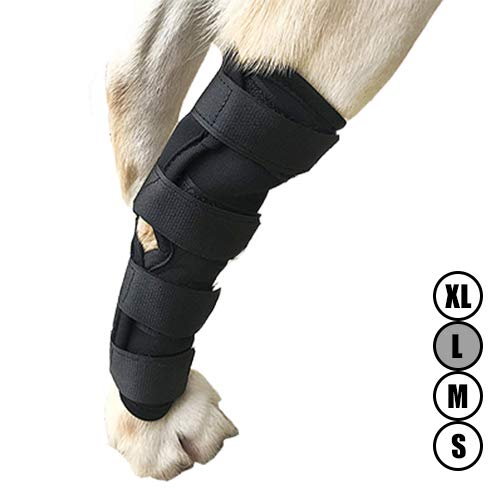 Dog ACL Brace for Torn acl Dog Hock Brace for Dog Ankle,Hock Joint Leg Brace for Dogs Relieve Pain from Operation/Arthritis,Comfortable Soft Canine Leg Joint Wrap Bandage Protects Wounds/Injury(L)