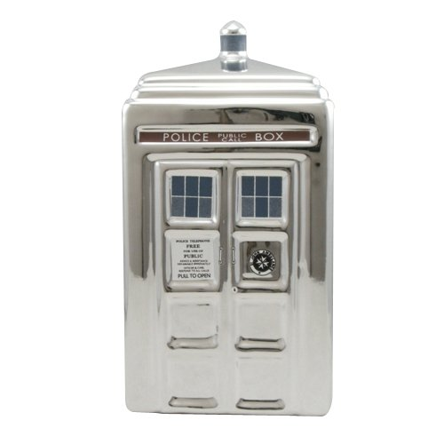 Doctor Who 50th Anniversary Silver Tardis Ceramic Money Bank