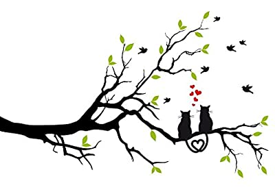 Cats Love Tree Branch Wall Decal by Wallmonkeys Peel and Stick Graphic WM20330