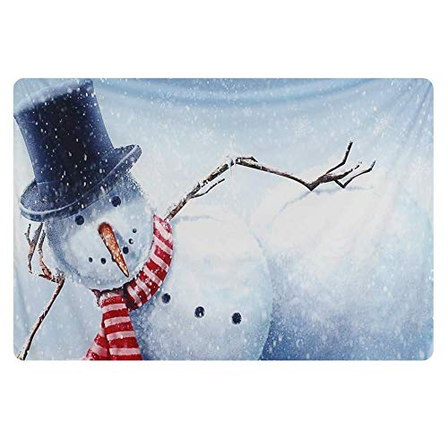 FOR U DESIGNS Thick Rectangle Christmas Door Mat for Christmas Snowman Xmas Mat for Front Door Warm Floor Carpet (Xmas Mats Door)