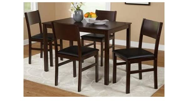 Dinette Sets For Small Spaces-Dinning Room Table Set-Five Piece Espresso Black Microfiber Wood Rectangle Dining Set Bring Classic Beauty to Your Dining Room ...