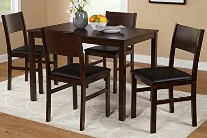 Dinette Sets For Small Spaces-Dinning Room Table Set-Five Piece Espresso Black Microfiber