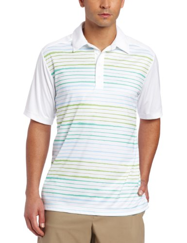 adidas Golf Men's Climacool Gradient Stripe Polo, White/Island, Medium