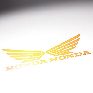 "(Pack of 2) 4.5"" x 3.75"" Fuel Gas Tank Fender Side Decal Reflective Wing Logo Vinyl Sticker for Honda Red"