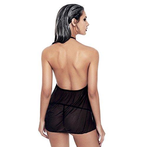 Appel sous Porte Semi SEESUNGM Endormi Transparent Montant Vtement Pyjama Dentelle Femme Col Jarretelles Tranch Jupe Sexy tFxtBqw
