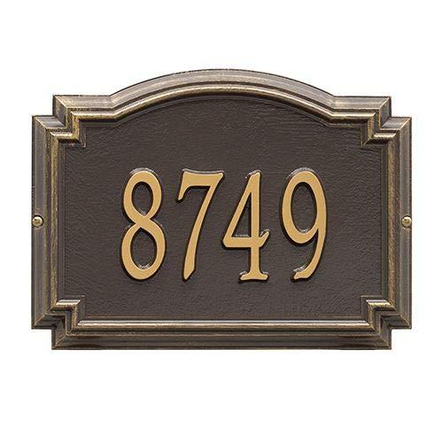 (Whitehall Products1290OG Customized 1 Line Williamsburg Wall Aluminum Address Plaque 14