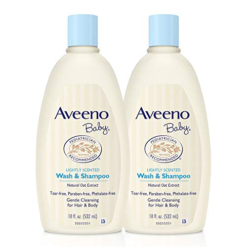 (Aveeno Baby Gentle Wash & Shampoo with Natural Oat Extract, Tear-Free, 18 fl. oz, Twin Pack )