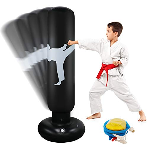 Focus Punching Bags, Inflatable Punching Bag for Kids 63 Inch Free Standing Boxing Bag for Immediate Bounce-Back for…