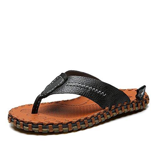Uomo da in Pantofole Sandali Pelle in Infradito in 7 Black Antiscivolo Pelle UK Pelle da Uomo 8 da Infradito 9 Spiaggia 088wdOq6
