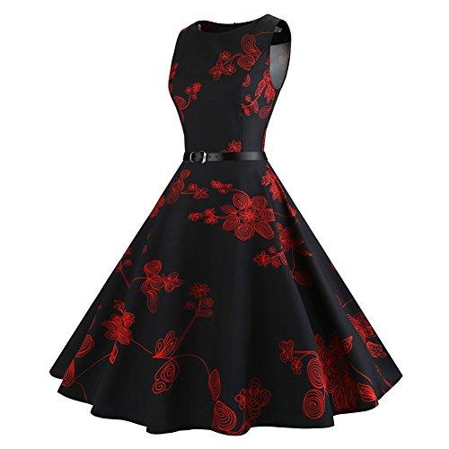 Sin Cuello Floral Rojo Con Vestido Cóctel mangas Fiesta 1950's Vintage Cinturón Vestido Deylaying Redondo Vestido Primavera Mujer 68wYqyta