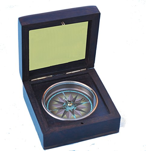 Stanley London Engravable Captain's Rosewood Desk Compass (Compass, Personalized) ()