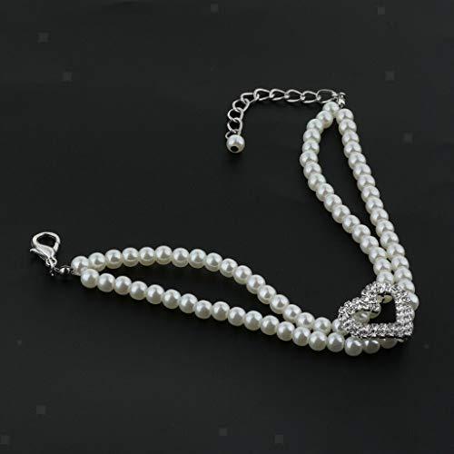 Agordo Dog Puppy Cat Bow Tie Fashion Pet Necktie Elegant Pearl Collar Clothes (Size - -