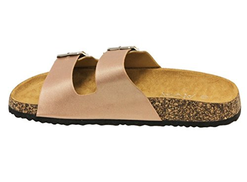 Slide Platform Cork Buckles Light Sandal Womens ANNA Rosegold Double Weight wCqT4a
