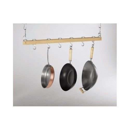 Hanging Pot Rack 36`` Ceiling Kitchen Storage Natural Wood Dual Track Pots Pans /&supplier-olsonhi Natural Wood Dual Track