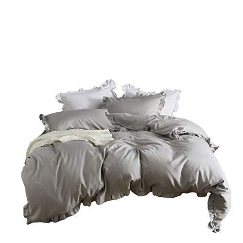 Amazon Com Iasteria Grey Duvet Cover Set Queen Size