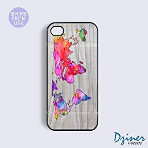 iPhone 6 Tough Case - 4.7 inch model - Colorful Wood Print World Map iPhone Cover