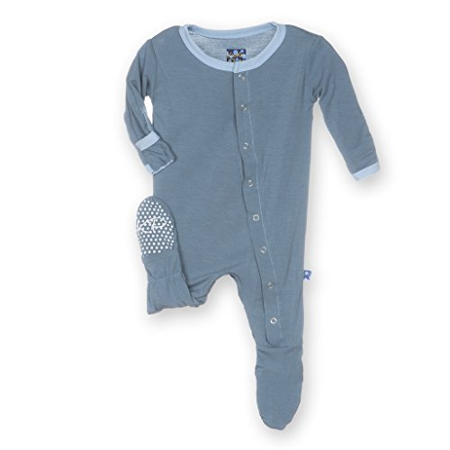 Kickee Pants Baby Boys' Solid Footie in Dusty Sky with Pond, 6-12M