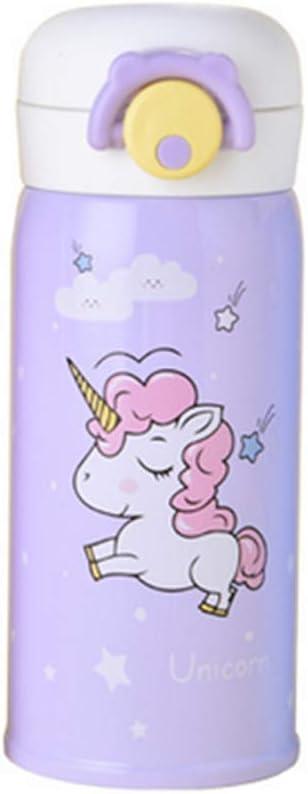Rocita Botella Duradera vacío de Acero Inoxidable Copa niños de Dibujos Animados patrón del Unicornio Taza aislada 500 ml de Agua púrpura para su Casa