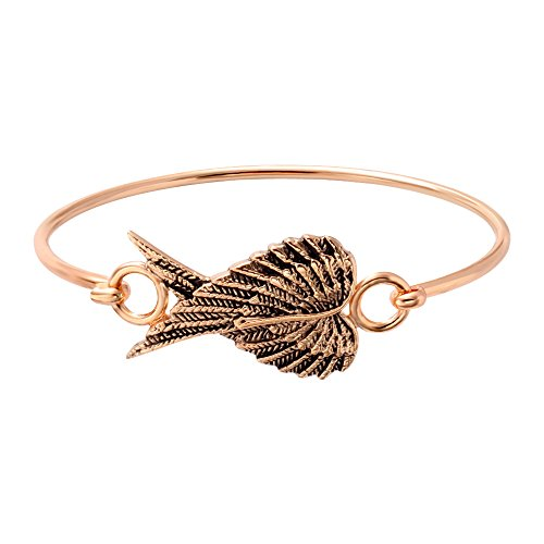 SENFAI 3 Colors Female Lovely Jewelry Wire Bangle Bracelet Openable Heart Angel Wings Bracelet (Rose gold color)