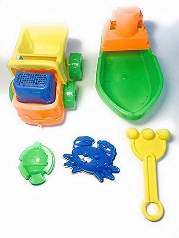 Beach Sand Toys Set Sail Boat, Dump Truck and Sand Toys Set 5 Pcs. - Cars Mega Mack Playset